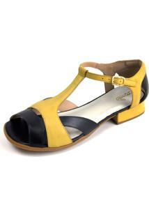 Sandália Miuzzi Preto Amarelo Ref: 3209 - Kanui