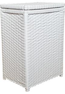 Cesto De Roupa Fibra Sintética Artesanal 40X25X55 Branco
