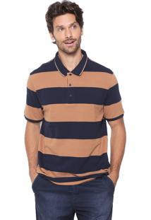 Camisa Polo Hering Reta Listrada Azul-Marinho/Caramelo