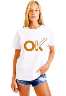 Camiseta Feminina Joss Ok - Feminino-Branco