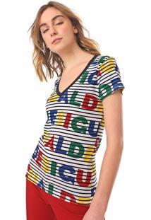 Camiseta Desigual Dsgl Branca/Preta
