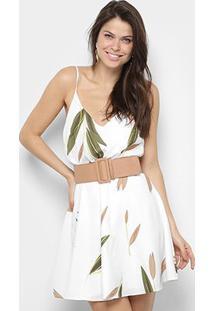 Vestido Lança Perfume Curto Evasê Floral - Feminino-Off White