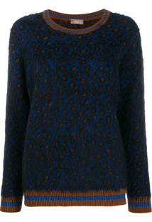 Altea Leopard Print Furry Jumper - Azul