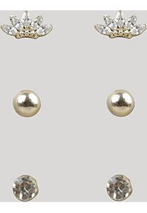 Kit De 3 Brincos Femininos Com Strass Dourado