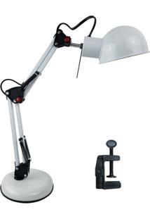 Luminária De Mesa 2 Em 1 Gimp Vintage Flexível Articulada Com Clip Branco
