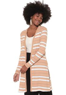Maxi Cardigan Dress To Listrado Bege/Branco