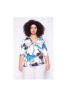 Blusa Almaria Plus Size Ela Linda Estampada Azul