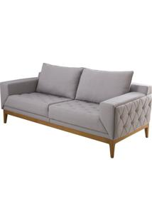 Sofa Beauvoir Cinza Claro Base Mel 3 Lugares - 50424 - Sun House