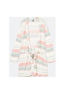Robe Kimono Em Viscolycra Estampa Listras