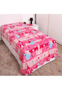 Cobertor Solteiro Kids 1,50X2,20M Flannel Andreza Rosa Escuro