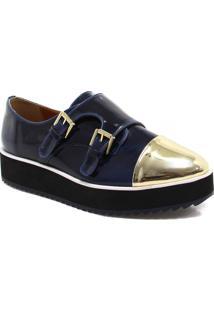 Sapato Oxford Zariff Shoes Flatform Monk Strap Dourado