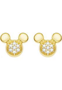 Brinco Mickey Ouro Amarelo E Diamantes
