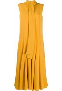 Mulberry Vestido Dena Com Laço Na Gola - Amarelo