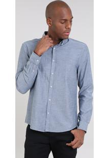 Camisa Masculina Comfort Manga Longa Azul Marinho