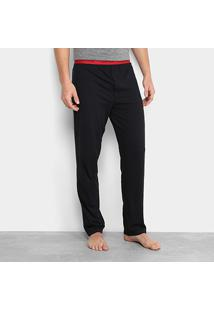 Calça De Pijama Calvin Klein Elástico Estampado Masculina - Masculino-Preto