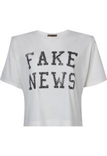 Blusa Bobô Fake News Malha Algodão Off White Feminina (Off White, Gg)