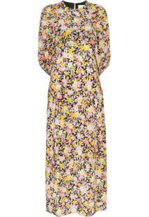Les Rêveries Vestido Midi Com Estampa Floral - Estampado