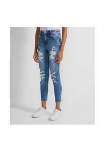 Calça Boyfriend Em Jeans Slim Com Puídos | Blue Steel | Azul | 34