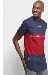 Camiseta Industrie Bicolor Alongada Masculina - Masculino-Marinho