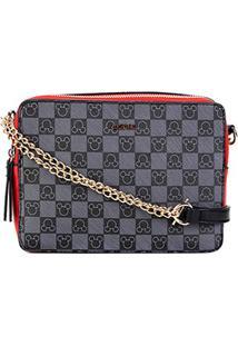 Bolsa Gash Mini Bag Alça Corrente Estampa Mickey Feminina - Feminino-Preto