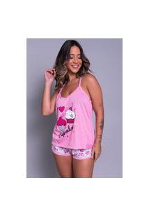Pijama Bella Fiore Modas Short Doll Estampado Rosa