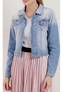 Jaqueta Jeans Destroyed Feminina Azul