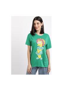 Blusa Feminina Lisa Simpson Manga Curta Decote Redondo Verde