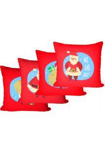 Kit 4 Capas Para Almofadas Decorativas Vermelho Papai Noel 45X45Cm - Tricae
