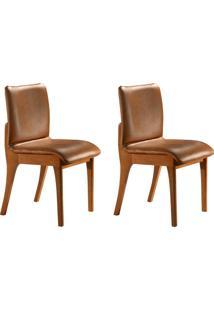 Conjunto Com 2 Cadeiras De Jantar Bella Gold Imbuia E Caramelo