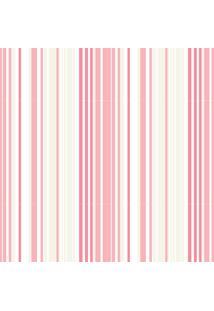 Papel De Parede Quartinhos Adesivo Texturizado Listrado Rosa E Marfim 2,70X0,57M