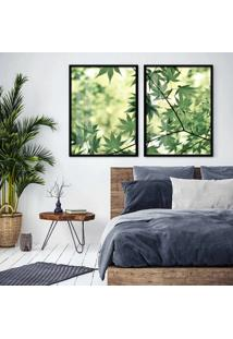 Quadro 65X90Cm Galhos Com Folhas Verdes Moldura Preta Com Vidro