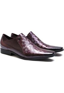 Sapato Social Couro Calvest Verniz Masculino - Masculino-Vinho