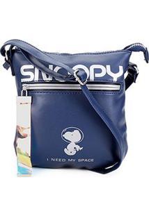 Bolsa Snoopy Transversal Estampada Feminina - Feminino-Azul