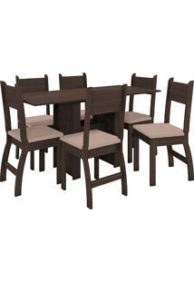 Conjunto De Mesa E 6 Cadeiras Para Sala De Jantar Milano Fosco-Poliman - Amêndoa / Savana