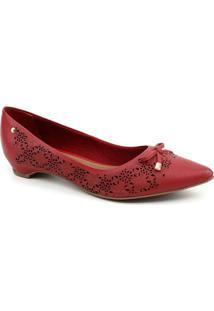 Sapato Couro Bottero Liliane 285805 Tanino Feminina - Feminino-Vermelho