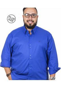Camisa Plus Size Bigshirts Manga Longa Lisa Elastano Azul