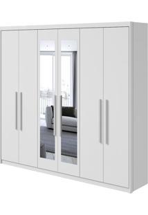 Guarda Roupa Áries 6 Portas Com Espelho Branco