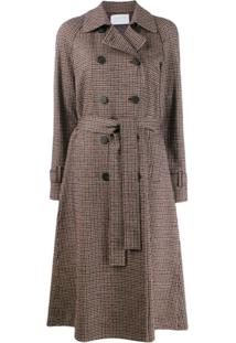 Harris Wharf London Check Print Trench Coat - Vermelho