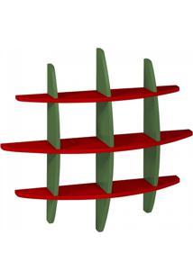 Prateleira Média 90Cm Taylor Maxima Vermelho/Verde Musgo