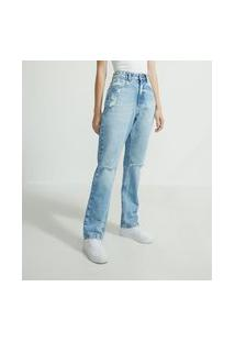 Calça Reta Jeans Com Rasgos E Puídos | Blue Steel | Azul | 44