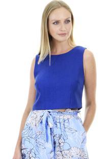 Blusa Cropped Lisa Detalhe Botãµes Costas - Azul - Feminino - Dafiti
