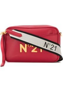 Nº21 Bolsa Transversal Com Placa De Logo - Vermelho