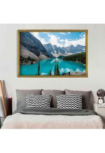 Quadro Love Decor Com Moldura Lago Azul Dourado Grande
