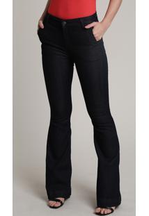 Calça Jeans Feminina Flare Cintura Alta Azul Escuro