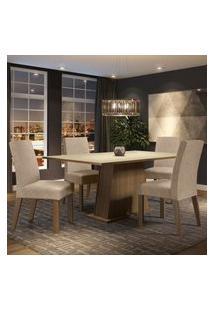 Conjunto Sala De Jantar Madesa Flavia Mesa Tampo De Madeira Com 4 Cadeiras - Rustic/Crema/Imperial Marrom
