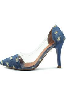 Scarpin Zhaceci Salto Alto Jeans Dourado - Azul - Feminino - Dafiti