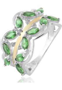 Anel De Prata C/ Filete De Ouro Central E Zircônia Verde Multicolorido - Kanui