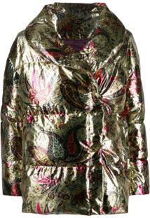 Etro Paisley-Print Puffer Jacket - Dourado