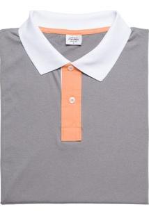 Camisa Polo Masculina Cinza Com Mangas Laranjas - 001