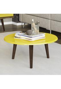 Mesa De Centro Móveis Bechara Brilhante Com Pés Palito Amarela